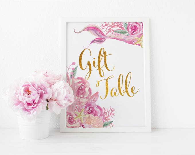 """Gift Table Sign 5x7""""  // Mermaid Gift Table // Gold // Pink // Floral // Made to Match our QUEENSLAND COLLECTION"""