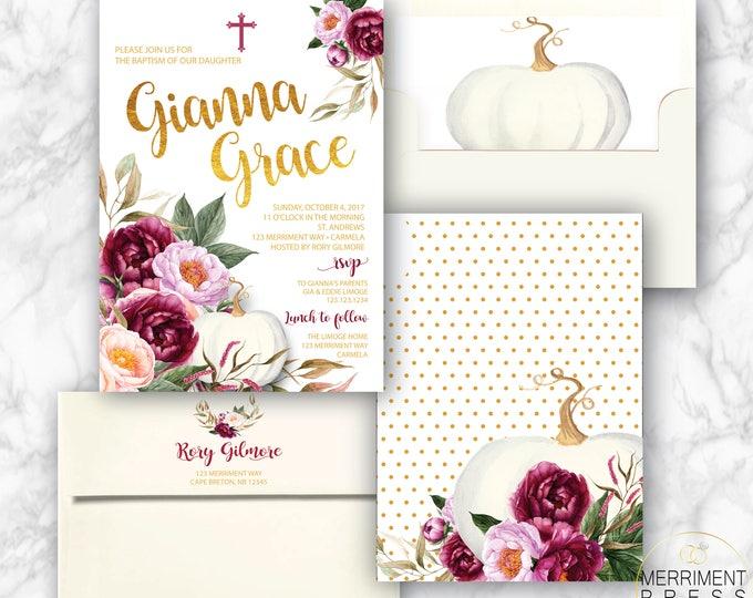 Fall Baptism Invitation // Pumpkin Baptism // Floral // Burgundy // Roses // Gold // Blush // Watercolor // CARMEL COLLECTION