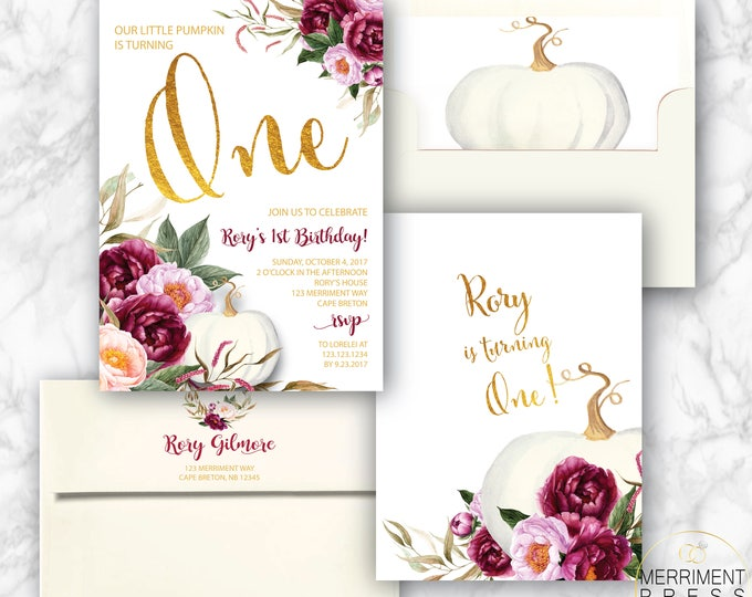 First Birthday Pumpkin Birthday Invitation // Fall Birthday / Any Age / Gold / Burgundy / Floral / Watercolor // Autumn // CARMEL COLLECTION