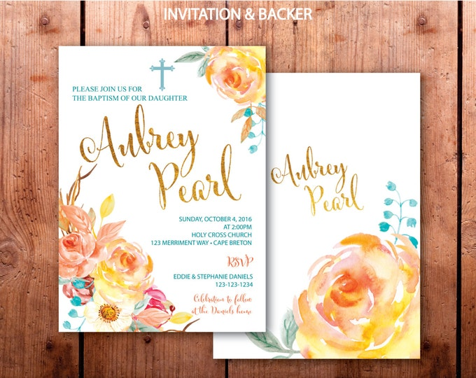 Fall Baptism Invitation // First Communion Invitation // Floral // Blue // Orange // Gold // Yellow // Watercolor // CAPE BRETON COLLECTION