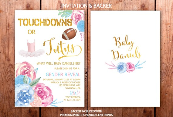 Gender Reveal Invitation Touchdowns Or Tutus Football