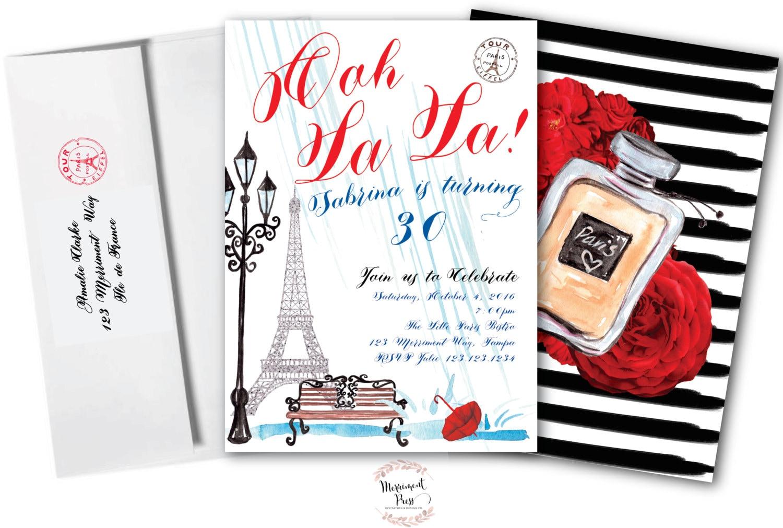 Paris Birthday Invitation // Any Age // French // Eiffel Tower // 30 ...