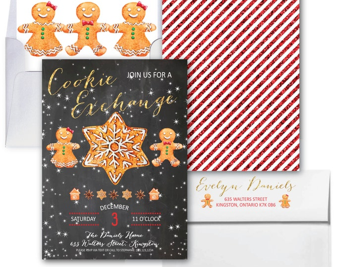 Cookie Exchange Invitation // Cookie Swap Invitation // Gingerbread Cookie Invitation // Chalkboard // Winter // KINGSTON COLLECTION
