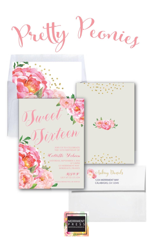 Sweet Sixteen Invitation Birthday Invitation Sweet 16