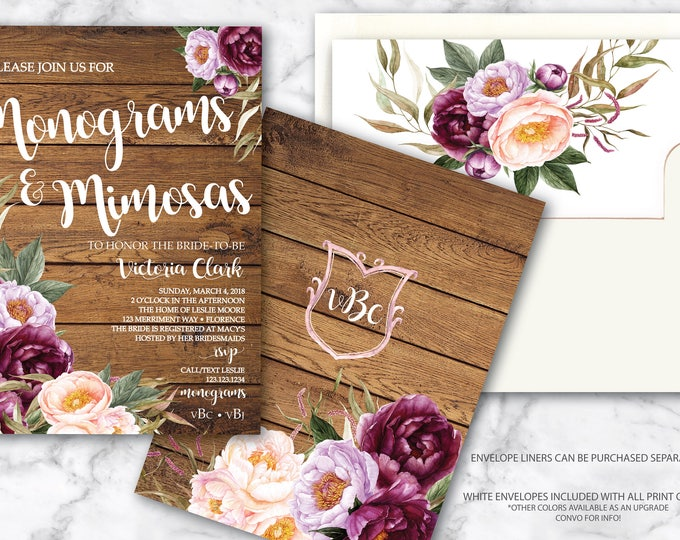 Burgundy Monograms and Mimosas Invitation / Bridal Shower Invitation / Navy / Floral / Purple / Rustic Wood / FLORENCE COLLECTION