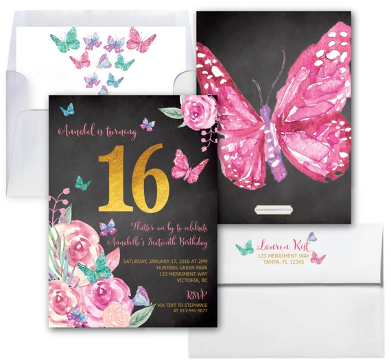 Butterfly Sweet Sixteen Birthday Invitation Butterflies 16