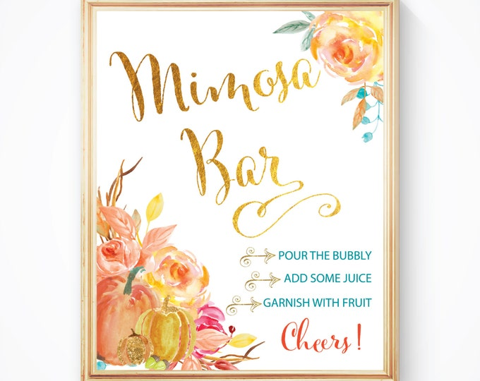 "Fall Mimosa Bar Sign 8x10"" // Printed //Mimosas // Mimosas & Monograms // Made to Match our CAPE BRETON COLLECTION"
