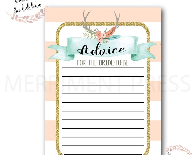 Advice Card // Oh Deer // Bride to Be // Bridal Shower // Woodland // Peach // Mint // Gold Glitter // Pink //Printed // OXFORD COLLECTION