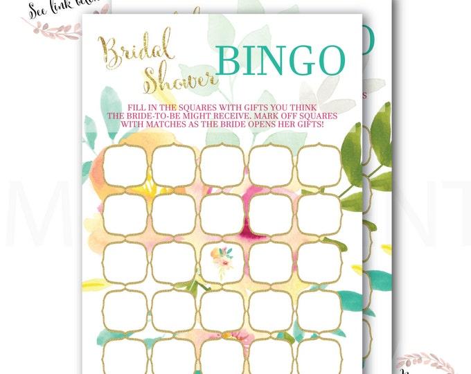 Bridal Shower Bingo //Bingo Game // Peonies // Roses // Pink // Peach// Mint//Yellow // Gold Glitter// Instant Download // MALIBU COLLECTION