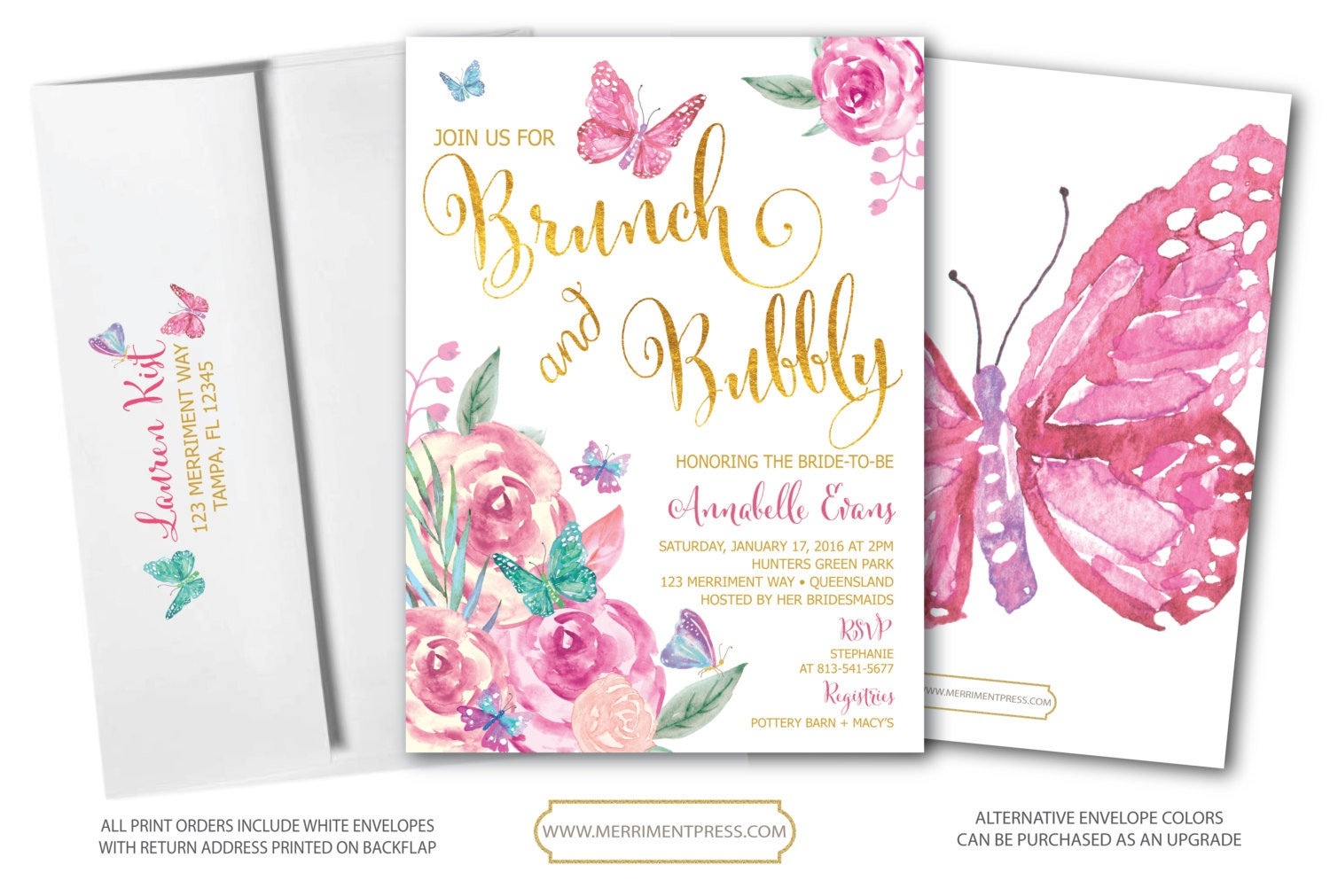 butterfly brunch and bubbly invitation butterflies bridal shower invitation floral watercolor pink gold printed printable victoria