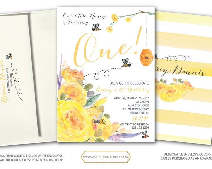 Bee First Birthday Invitation Yellow First Birthday Invitation Buzz Striped Floral Bees little honey Watercolor - MELBOURNE COLLECTION