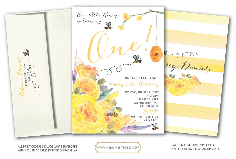Bee First Birthday Invitation Yellow First Birthday Invitation Buzz ...