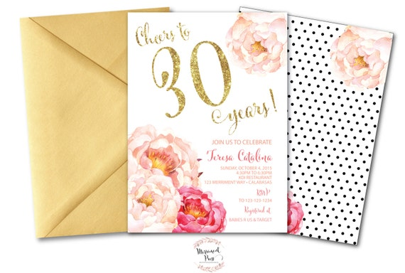 Peony 30th Birthday Invitation Peonies Pink Gold Glitter Polka Dots CALABASAS COLLECTION