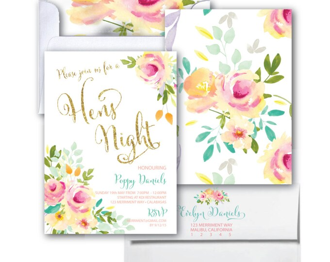Hens Night Invitation // Hens Party // Watercolor // Roses // Peonies //Peony // Pink // Gold Glitter // Mint // Yellow // MALIBU COLLECTION