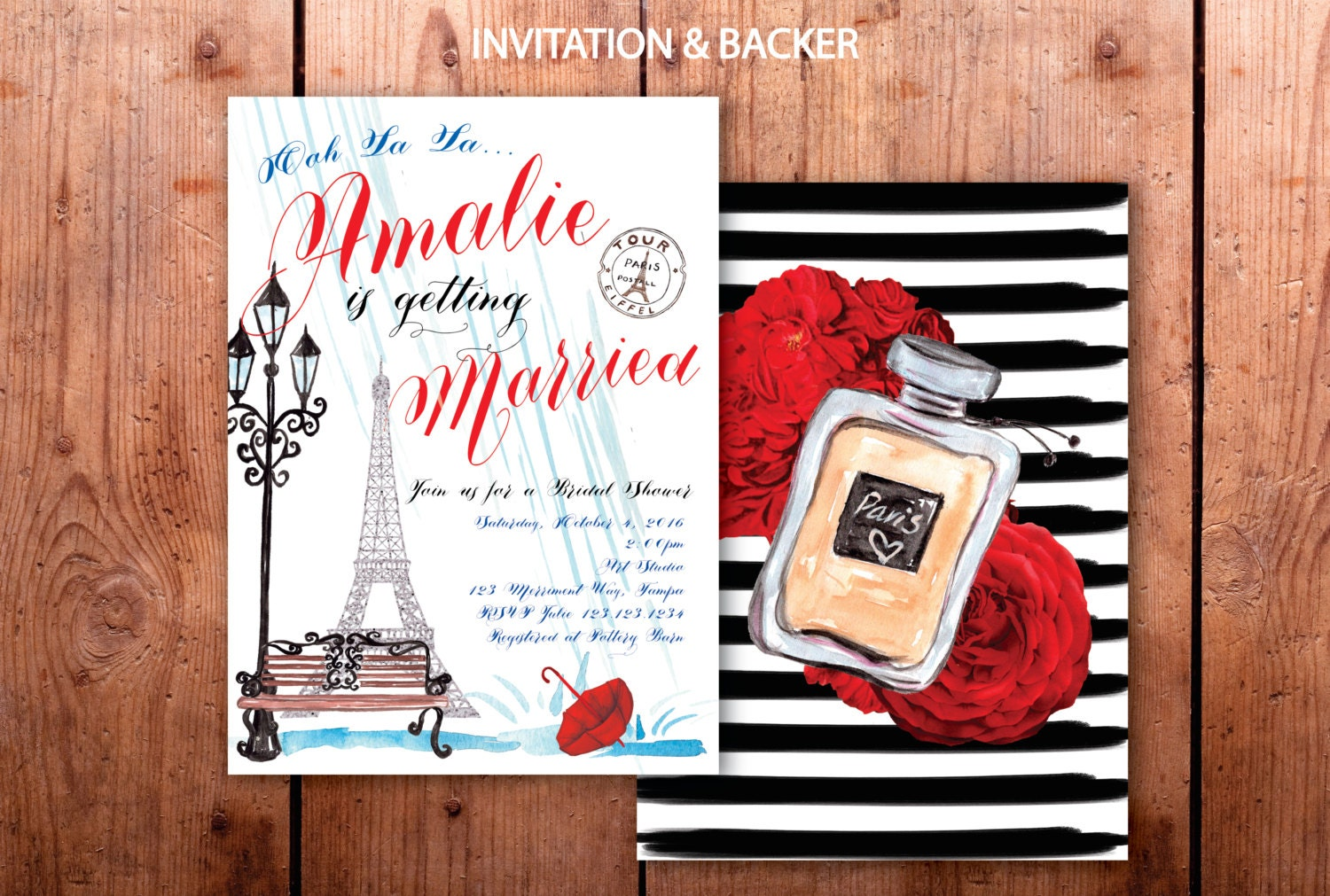 paris bridal shower invitation french bridal shower eiffel tower fall red white blue rain umbrella ile de france