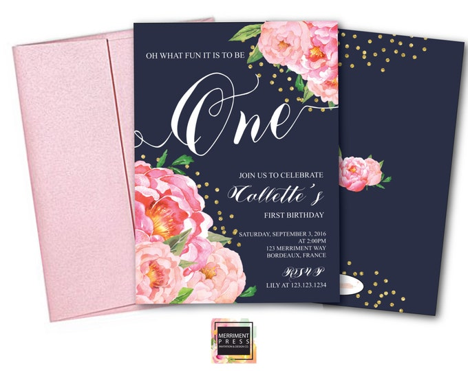 First Birthday Invitation // One // Navy // Peonies // Peony // Navy Blue / Birthday Invitation / Pink / Gold Glitter // BORDEAUX COLLECTION