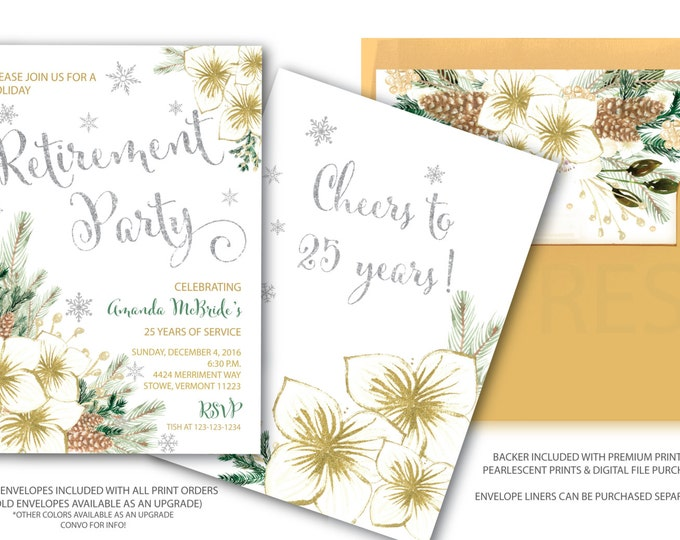 Holiday Retirement Party Invitation // Winter Retirement // Retirement Party Invitation // Snowflakes // Silver // Gold// VERMONT COLLECTION