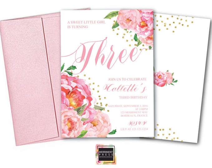 Birthday Invitation // Two // Three // Four // Five // Six // Any Age/ / Flowers // Peony // Pink // Gold Glitter // BORDEAUX COLLECTION
