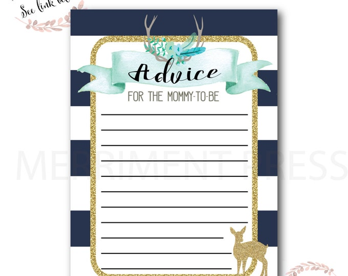 Advice Card // Oh Deer // Fawn // Mommy to Be // Navy // Mint // Gold Glitter // Stripes// Woodland // Instant Download // OXFORD COLLECTION
