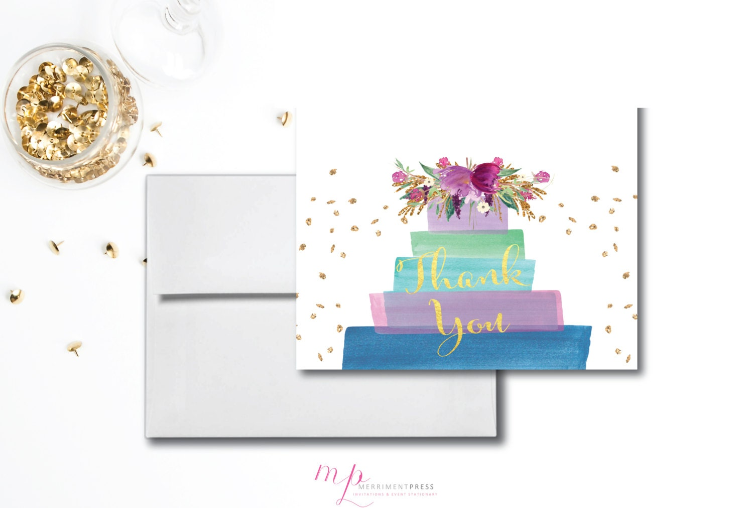 Purple Cake Gold Glitter Thank You Card Watercolor Lilac Green Blue