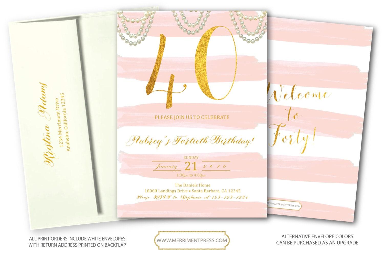 Blush Pink Gold 40th Birthday Invitation // Fortieth Bithday // Pink ...