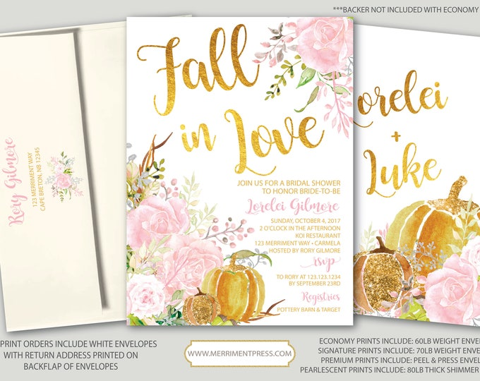 Fall Bridal Shower Invitation // Pumpkin Bridal Shower // Floral // Fall in Love // Pink // Gold // Blush // Watercolor // CARMEL COLLECTION