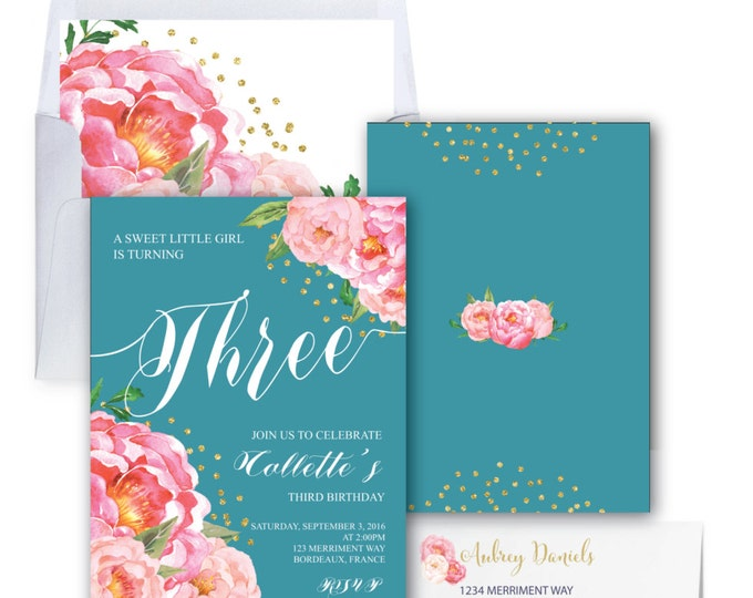 Teal Birthday Invitation // Two // Three // Four // Six // Any Age // Aqua// Peony //  FLoral // Gold Glitter // BORDEAUX COLLECTION