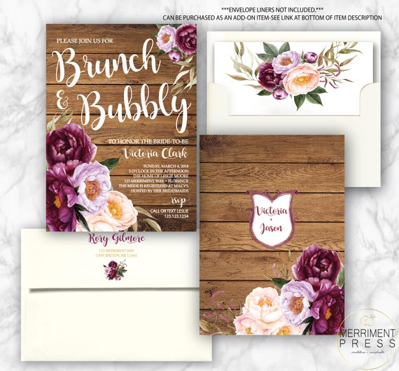 Rustic Burgundy Purple Floral Script Wedding Invitations: Burgundy Floral Bruch And Bubbly Invitation / Bridal