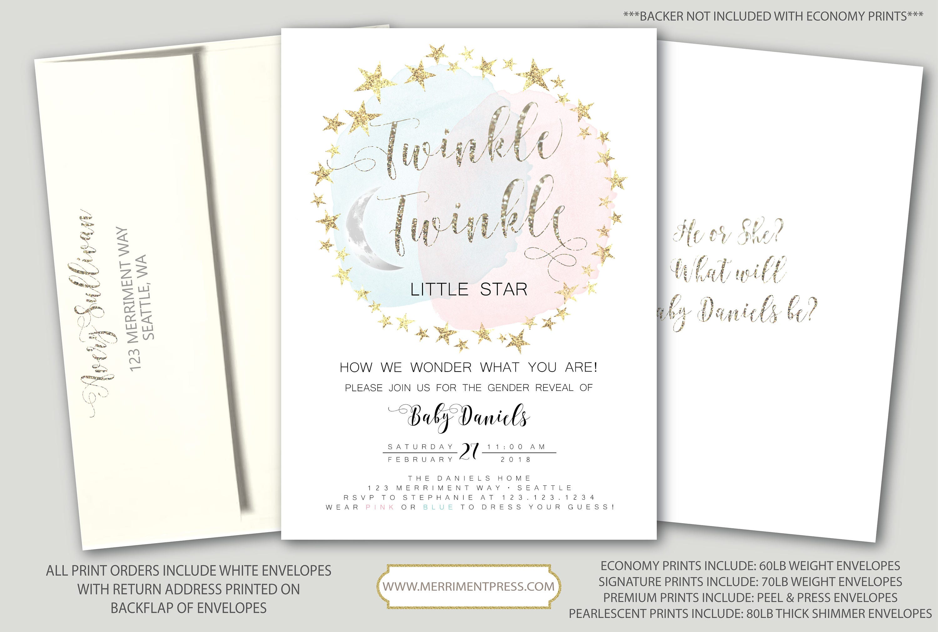 Twinkle Twinkle Gender Reveal Invitation How I wonder what you are ...