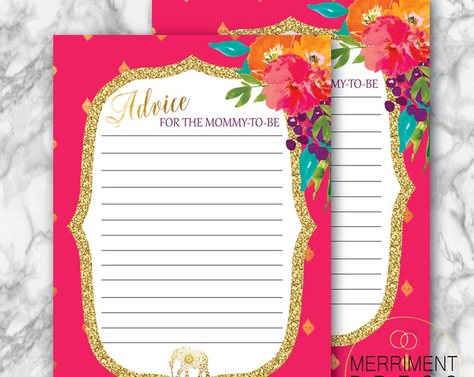 Indian Inspired Baby Shower Advice Card // Mommy to Be // Elephant // Gold // Fuschia // Paisley // Bollywood / Printed // JAIPUR COLLECTION