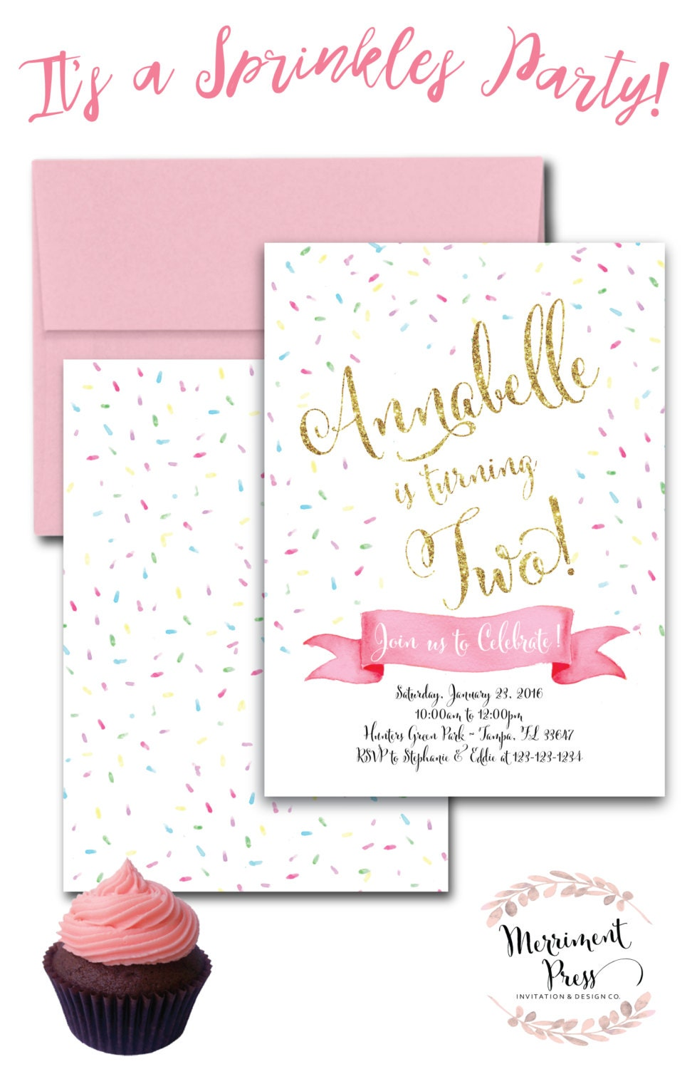 Sprinkle birthday invitation pink pastel gold glitter sprinkle birthday invitation pink pastel gold glitter cupcake watercolor sprinkles blush pink tampa collection filmwisefo