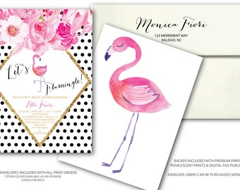 Flamingo Bridal Shower Invitation // Let's Flamingle // Pink // black and white // floral // gold glitter // polka dot // RALEIGH COLLECTION