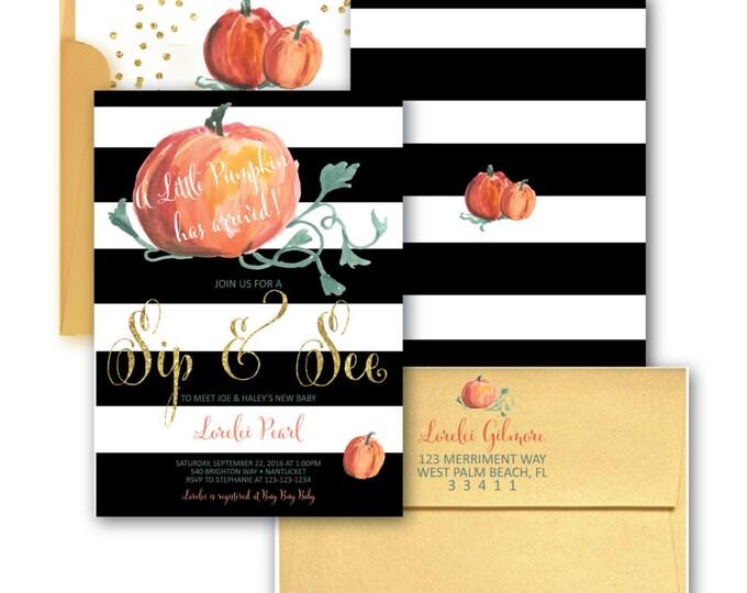 Pumpkin Sip & See Invitation // Little Pumpkin // Sip and See // Pumpkin Invitation // Watercolor // Gold Glitter// NANTUCKET COLLECTION