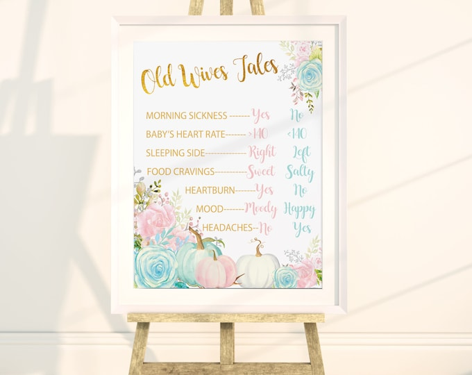 "Old Wives Tales 16x20"" //Gender Reveal // Peonies // Blue or Pink // Floral // Instand Download // Made to Match our CARMEL COLLECTION"