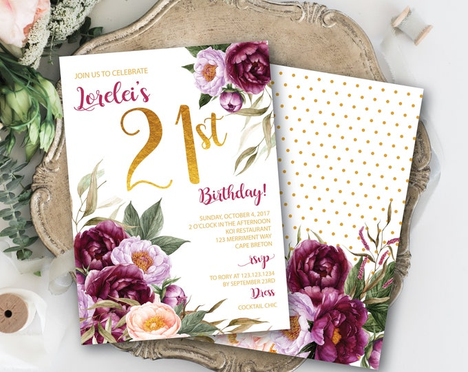 21st Birthday Invitation / Burgundy Floral Birthday Invitation / Watercolor / Burgundy / Purple / Pink / Wine /Gold / FLORENCE COLLECTION