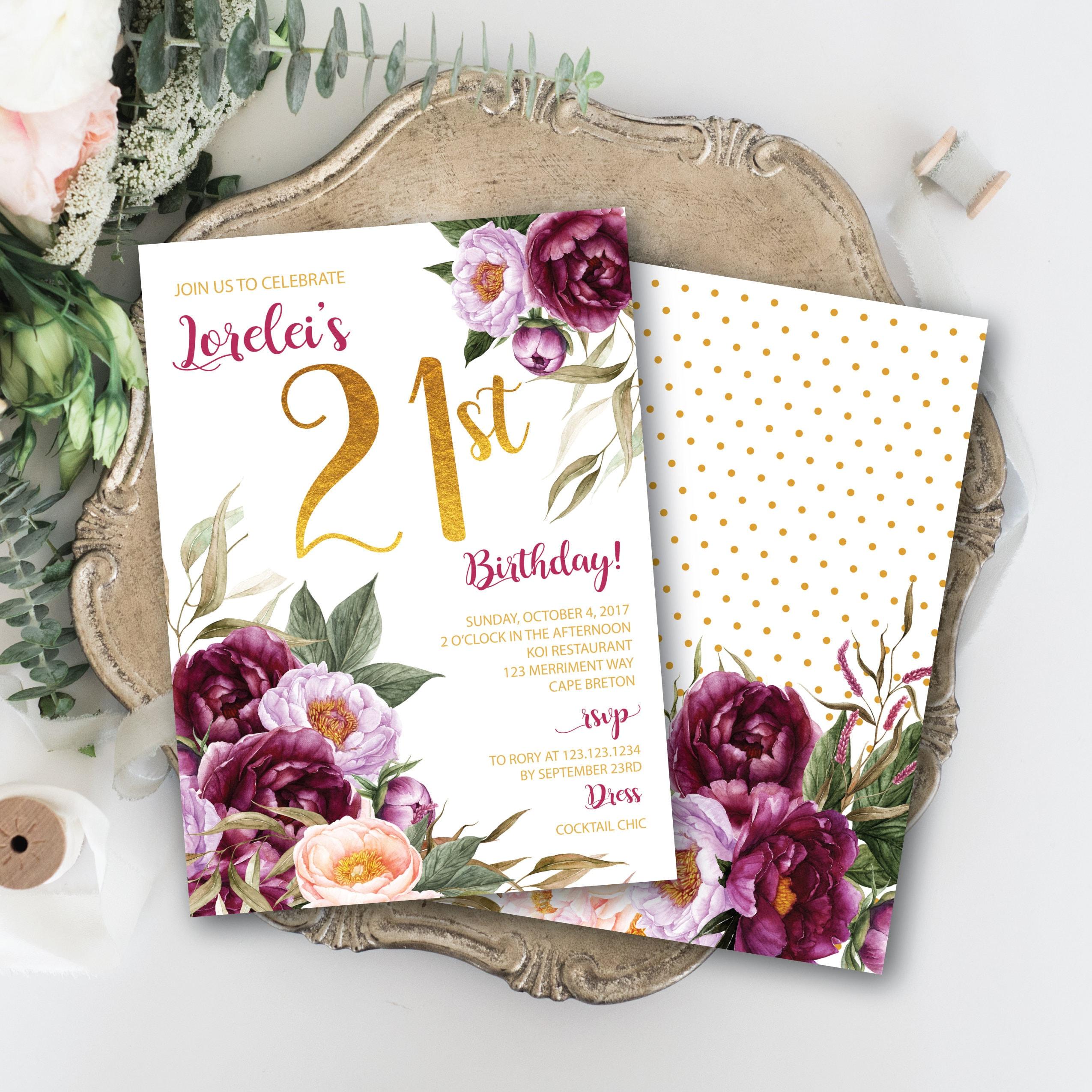 21st Birthday Invitation Burgundy Floral