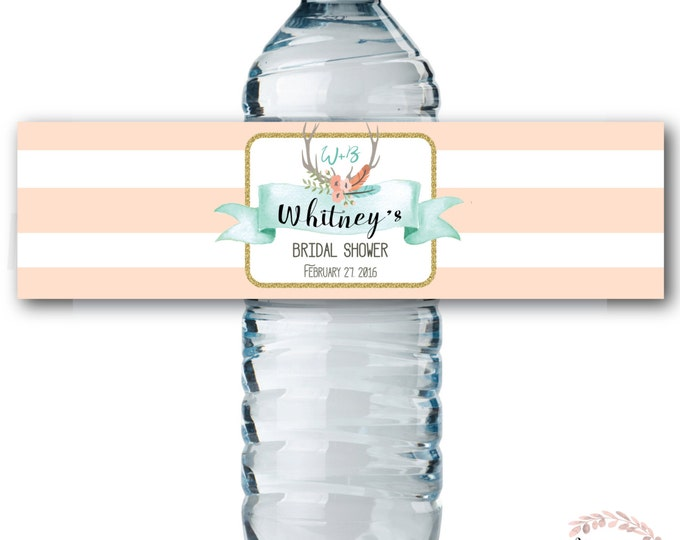 Water Bottle Labels // Oh Deer // Fawn // Water Wrap // Bridal Shower // One // Peach // Mint // Printed or Printable // OXFORD COLLECTION