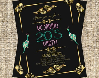 1920's Party Invitation, Art Deco Invitation, Flapper Invitation, Baby Shower, Bridal Shower, Birthday Party