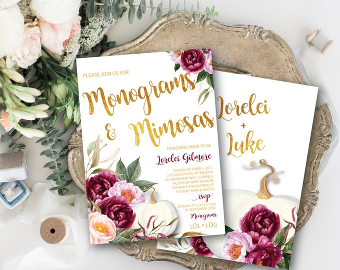Burgundy Pumpkin Monograms and Mimosas Invitation // White Pumpkin // Fall Bridal Shower // Maroon // Gold // Floral // CARMEL COLLECTION