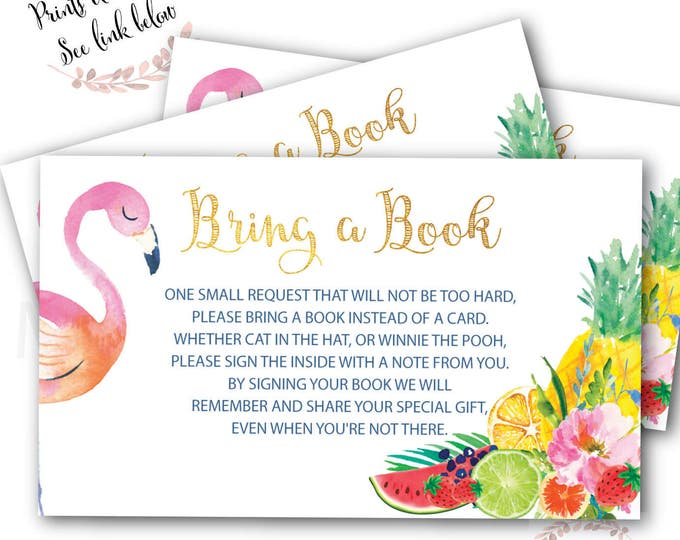 Flamingo Bring a Book instead of a Card // Tutti Fruity // Watercolor // Frutti // Baby Shower // Instant Download // ARUBA COLLECTION
