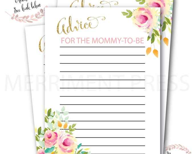 Advice Card for the Mommy to Be // Watercolor Floral // Yellow // Baby Shower //Gold Glitter // Pink // Printed // MALIBU COLLECTION