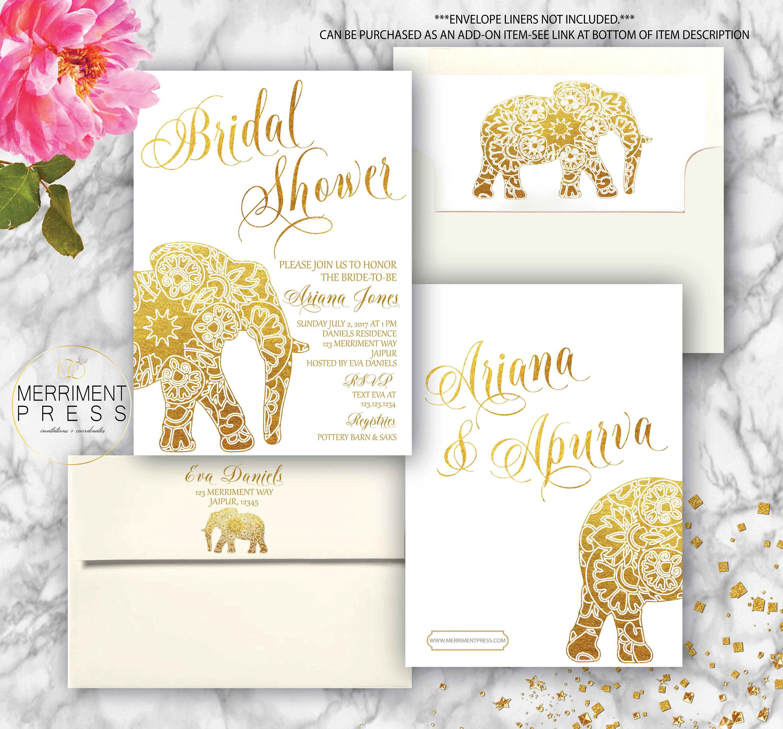 Indian themed Bridal Shower Invitation / Bollywood / Elephant ...