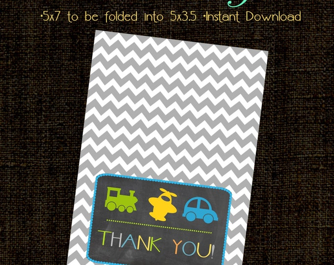 Transportation Thank you Card. Made to Match. Instant Download