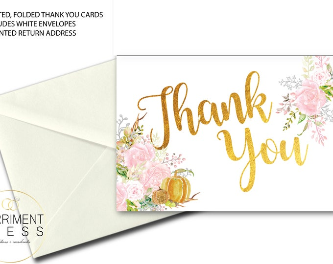 Fall Thank You Card // Folded Thank You // Pumpkin // Blush // Pink // Watercolor // Gold // Printed // CARMEL COLLECTION