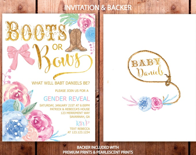 Gender Reveal Invitation // Boots or Bows // Gender Reveal Party // He or She // Boy or Girl // Gold Foil // Floral // SAVANNAH COLLECTION