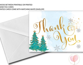 Winter Thank You Card // Winter // Holiday Thank You Card // Pink // Blue // Snowflake Thank you card  // Faux Gold Foil // ASPEN COLLECTION