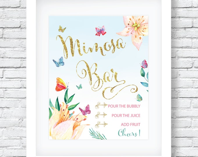 "Butterfly Mimosa Bar Sign 8x10"" // Printed // Watercolor// Butterflies // Mimosas // Brunch & Bubbly // Made to Match our CORDOBA COLLECTION"
