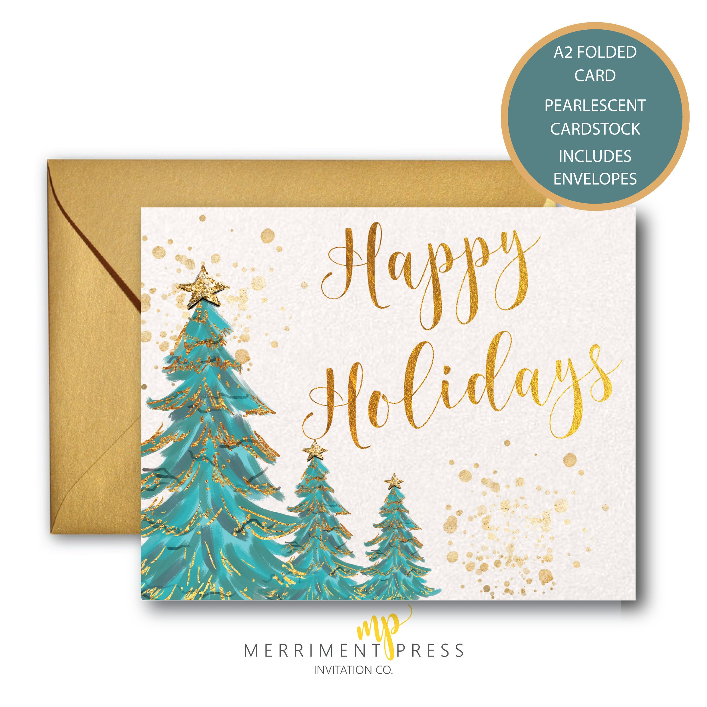 Happy Holidays Christmas Cards Set / Holiday Card / Christmas Trees ...