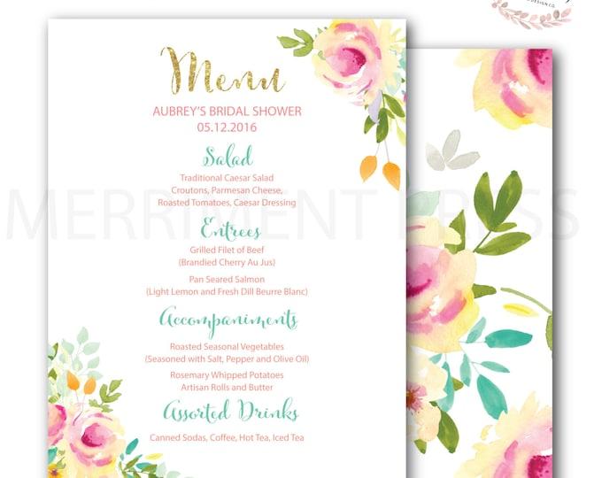 Menu // Roses //Peonies // Peony// Bridal Shower Menu // Watercolor // Pink // Gold Glitter // Yellow// Peach // Mint //  MALIBU COLLECTION