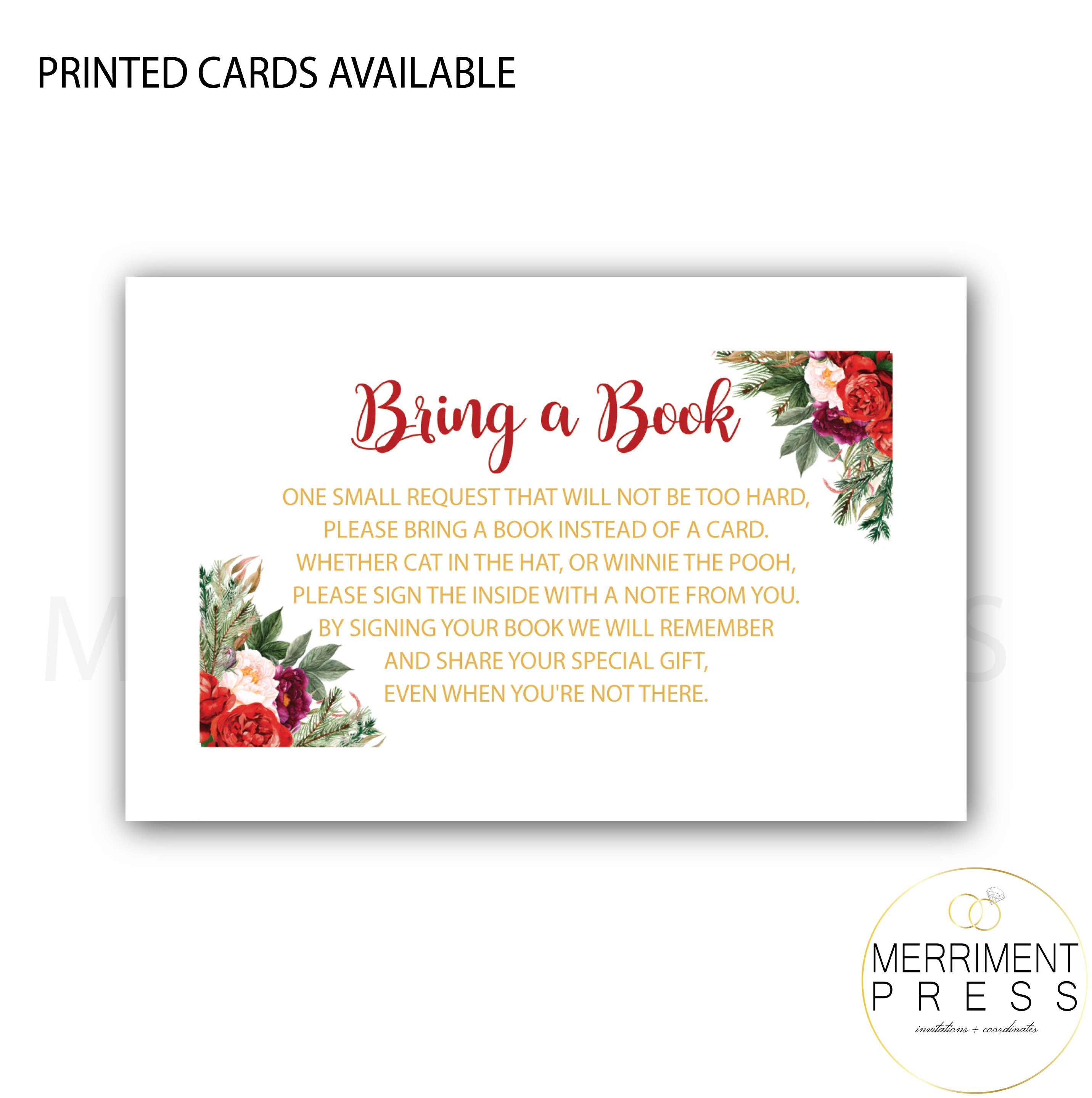Holiday Bring A Book Insert Christmas Red Burgundy Gold